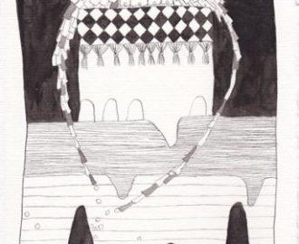 'Neushuisje', Oost Indische inkttekening van Ann Hoogendoorn