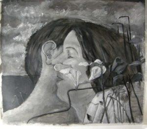 """Grayscale studie van """"De Omhelzing"""" van Co Westerik door Ann Hoogendoorn"""