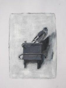 Grayscale studie van 't Puttertje van Carel Fabritius dpoor Ann Hoogendoorn