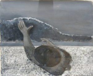 """Grayscale studie van de """"De Zwemmer 5"""" van Co Westerik door Ann Hoogendoorn"""