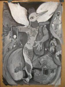 De Jongleur van Marc Chagall, een grayscale studie van door Ann Hoogendoorn