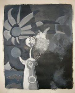 """""""Figuur voor de zee"""" van Miro, een grayscale studie van door Ann Hoogendoorn"""