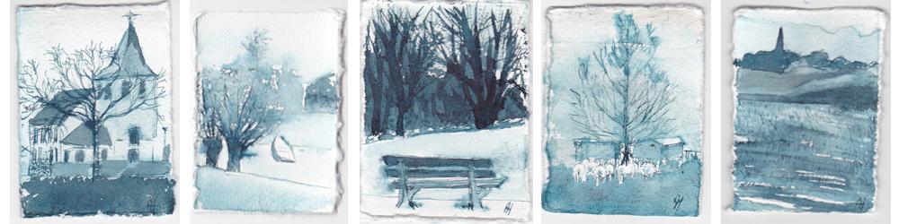 Poldermomentjes uit 2012 tijdens de eerste winter dat ik hier woonde, zijn miniaturen in inkt. 5 x 7 cm